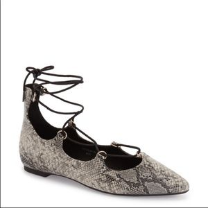 TOPSHOP Snakeskin Lace Up Pointed Toe Flats 39